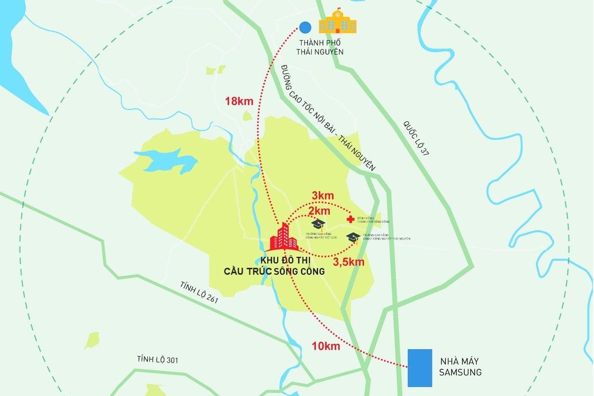 vị trí khu đô thị cầu trúc sông công